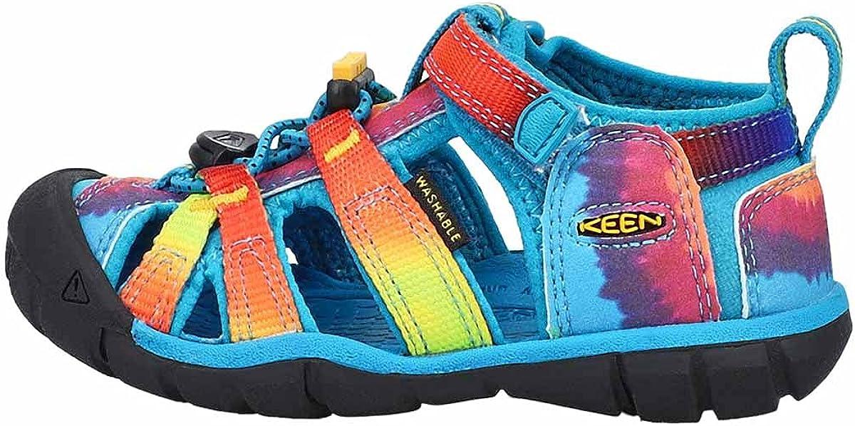 KEEN Little Kid's Seacamp 2 CNX Closed Toe Sandal, Vivid Blue/Original Tie Dye, 13 LK (Little Kid's) US