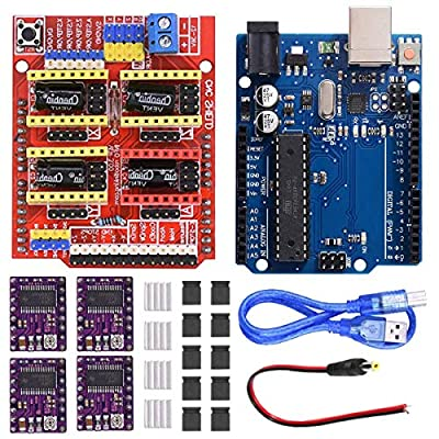 Youmile CNC Shield V3.0 Expansion Board Kit With Board for Arduino, 4PCS DRV8255 Stepper Motor Driver and Heatsink, 10PCS Jumper Cap, USB Cable For Engraving Machine