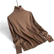 Slim- fit high- nek vrouwen winter trui herfst mooie trui dames kasjmier revers pullover vrouwen trui (Color : Silver, Siz...