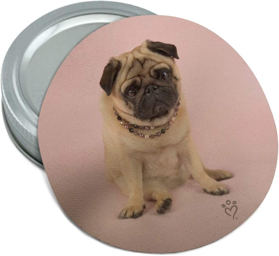 Pug Puppy Dog Manufacturer direct delivery Sitting Pink Necklace Rubber Jar Non-Slip Round Gr El Paso Mall
