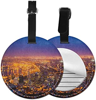 Leather round luggage tag City Protect personal privacy Cape Town Panorama at Dawn South Africa Coastline Roads Architecture Twilight,Diameter3.7