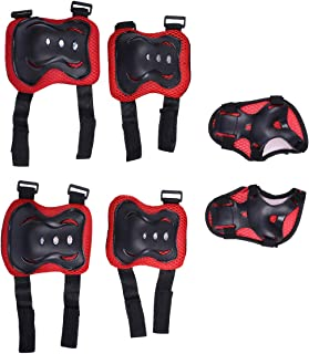 LIOOBO Kids Knee Pads Set 6 in 1 Kit Protective Gear Knee Elbow Pads Wrist Guards for Skateboard Biking Riding Cycling Rollerblading