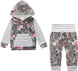 Ropa Bebe Niña Otoño Invierno Recién Nacido Niña Sudaderas Encapuchadas de Manga Larga + Floral Pantalones + Venda de Pelo