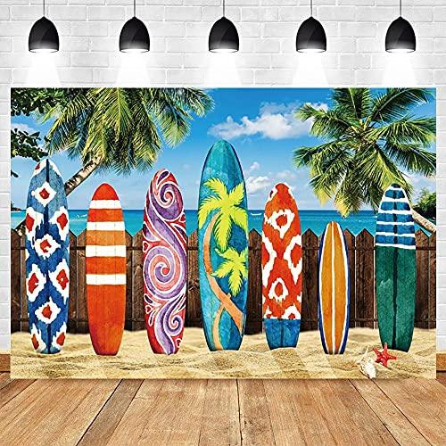 Fondos fotográficos Verano Tropical Mar Mar Surf Playa Fiesta de cumpleaños Fotografía Vinilo Gabinete Fotófono Fotófono-250x180CM