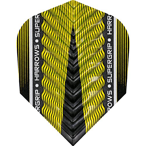 Harrows SUPERGRIP X Dart Flights, 100Micron–Standard–5sets (15), gelb