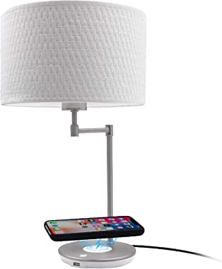 Macally Wireless Charging Lamp with USB Port, LED Light Perfect for Bedroom, Nightstand, Living Room, Desk - Long Lasting LED