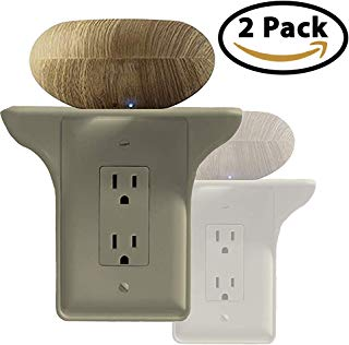 Storage Theory | Power Perch | Ultimate Outlet Shelf | Easy Installation, No Additional Hardware Required | Holds Up to 10lbs | Almond Color | 2 Pack