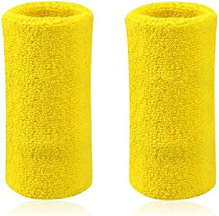 6' Inch Wrist Sweatband in 11 Athletic Cotton Wristbands Armbands (1 Pair)