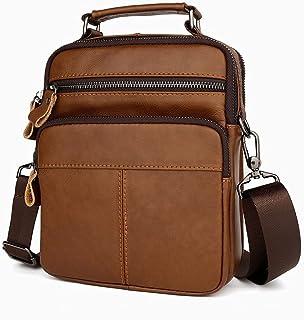 Fbnzmluqdjb حقيبة الكتف للرجال جلد طبيعي رسول حقيبة الرجال حقائب الكتف رفرف صغيرة رجل حقائب كروسبودي حقائب اليد (اللون: بني)