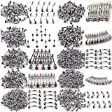 100pcs 10styles 316L Stainless Steel Crystal Body Jewelry Belly Tongue Lip Nipple Piercing Rings Wholesale
