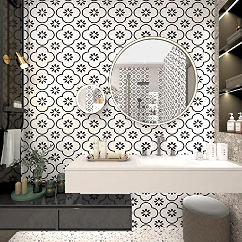 Black and White Wallpaper Peel and Stick Wallpaper Boho Wallpaper for Living...