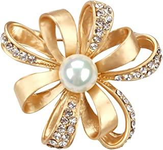 Pearl Flower Brooch Fashion Pearl Flower Design Wedding Bridal Brooch Pin Rhinestones Corsage Covered Scarves Shawl Clip For Women's Ladies Girls Jewelry Gift (Gold)