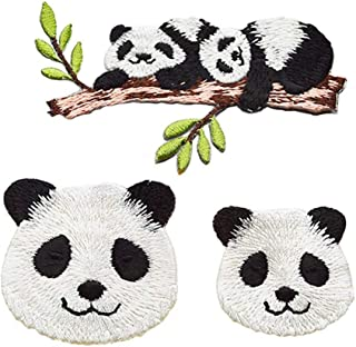ZOOPOLR 3 Pcs Panda Family Delicate Embroidered Patches, Embroidery Patches, Iron On Patches, Sew On Applique Patch,Cool Patches for Men, Women, Boys, Girls, Kids