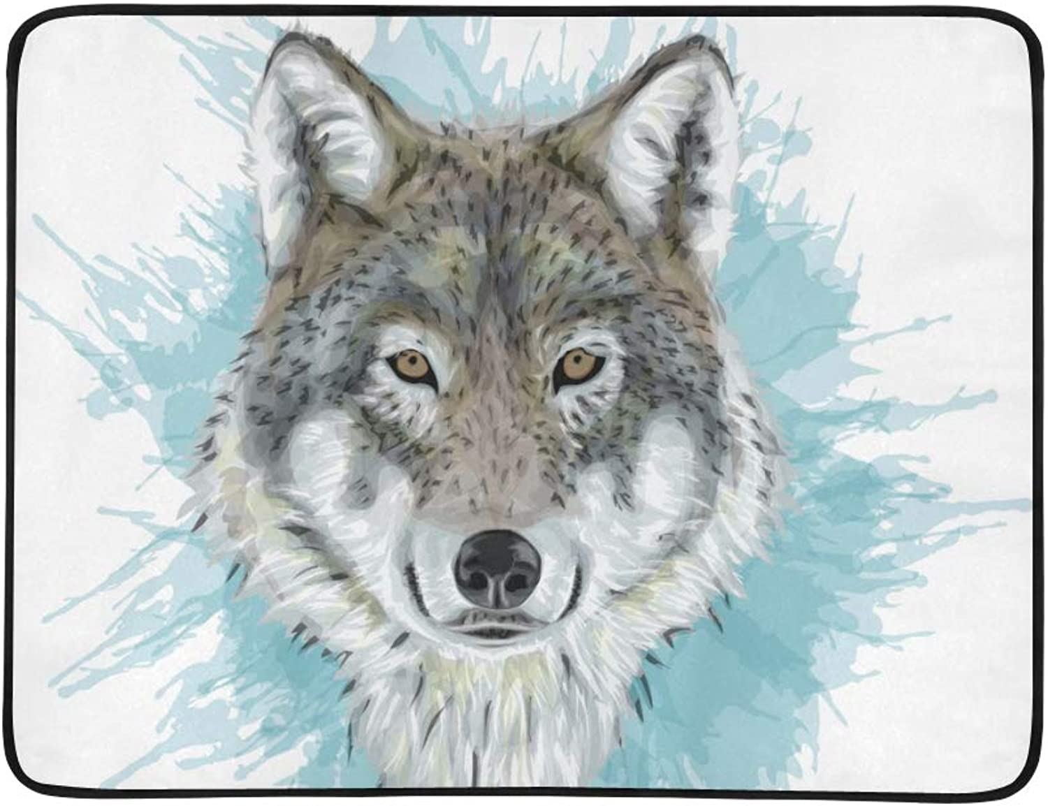 Grey Wolf Portrait Animal Pattern Portable and Foldable Blanket Mat 60x78 Inch Handy Mat for Camping Picnic Beach Indoor Outdoor Travel
