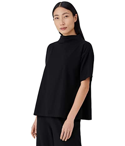 Eileen Fisher Funnel Neck Top with Elbow Sleeves in Organic Cotton Stretch Jersey