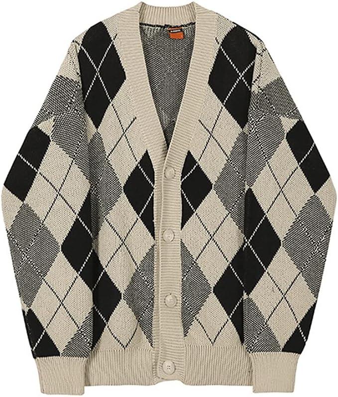 LSDJGDDE Plaid Kintted Cardigan Sweater Men's Korean Fashion Spring Autumn Outerwear Casual Clothes Vintage (Color : Lattice, Size : XXL Code)