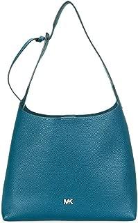 Pebbled Leather Shoulder Bag- Teal