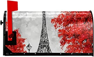 Yangfeizhu Red Paris Eiffel Tower Mailbox Cover Magnetic Standard Size Home Garden Outdoor 21x18 in