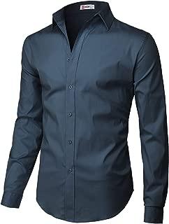 Mens Dress Slim Fit Shirts Long Sleeve Business Shirts Basic Designed Breathable