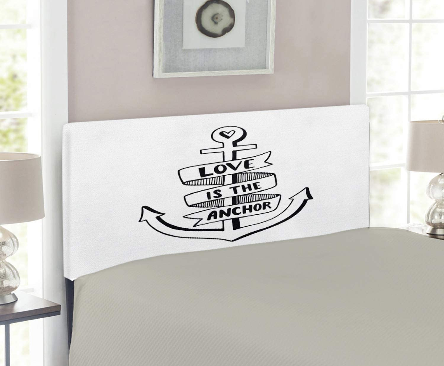 NEW before Outlet SALE selling ☆ Ambesonne Anchor Headboard Hand Motif Drawn Monochrome Nautical