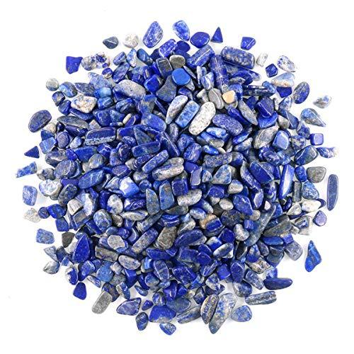 Wayber 1 Lb/460g Deep Blue Lapis Lazuli Pebbles Irregular Decorative Stones Natural Crystal Rock Gravel for Aquarium/Fish Turtle Tank/Succulent Plants/Air Plants Decoration (Fill 1 Cup)