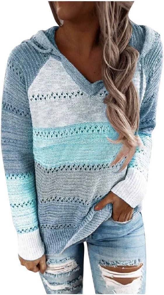 Women Sweatshirt,Color Block Long Sleeve Hollow Out Hoodie Sweater Lightweight Sweatshirts Tops