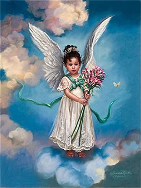 Angel Girl Holding Cat 16x20 No Frameless Paint by Numbers Kit DIY Oil Painting Kit for Kids and Adults