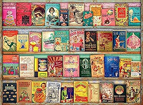 Fanxp Vintage Kochbücher Holzpuzzle, Puzzle 1000 Stück, für Erwachsene und Kinder pädagogische Spielzeug Wandmalerei Home Decor