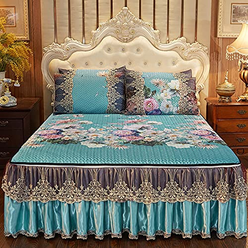 Quilted Bed Skirt Bedspread, 3-piece European Style Bedroom Decoration Lace Coverlets Single Double King Valance Detachable Lace Bed Ruffle Non Slip Bed Sheet With 2 Pillowcase,N-180x220CM+50x70CMx2