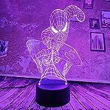 Cool Marvel Spiderman 3D lampe à LED veilleuse à distance tactile 7 dégradé de couleur atmosphère USB lampe de Table de bureau enfants cadeaux