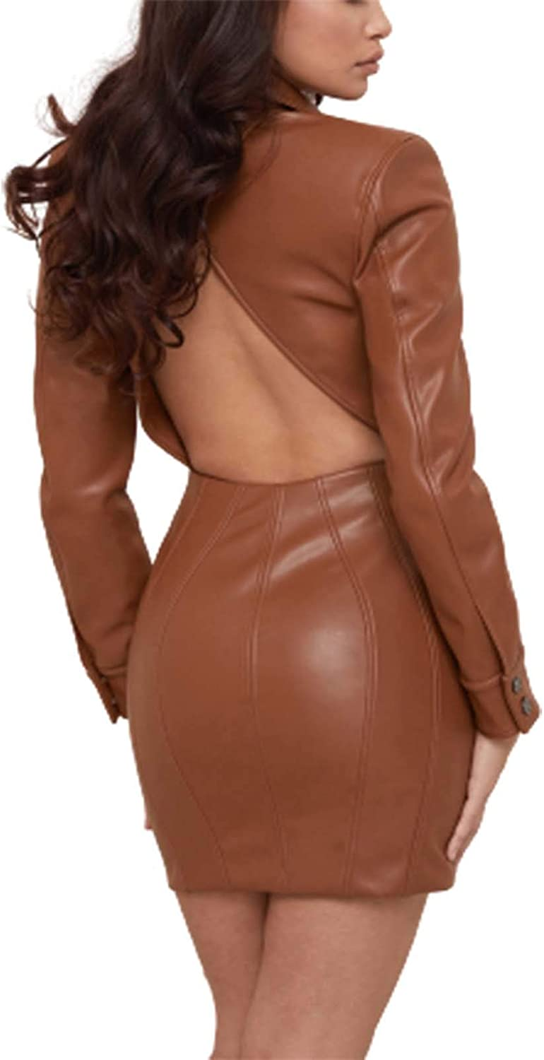 MISSugar Women's Faux Leather Button Down Party Dress Lapel Long Sleeve Bodycon Backless Sexy Club Dress (Brown, M)