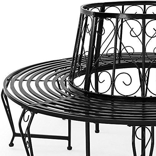 Baumbank 360° Metall, Ø 160cm, pulverbeschichtet, geschwungene Beine Gartenbank Rundbank - 3