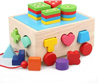 Lewo Wooden Puzzle Shapes Sorter Stacking Games Classic Push Pull Truck Toy Educational Preschool Shape Color Recognition Geometric Puzzle Games for Toddlers