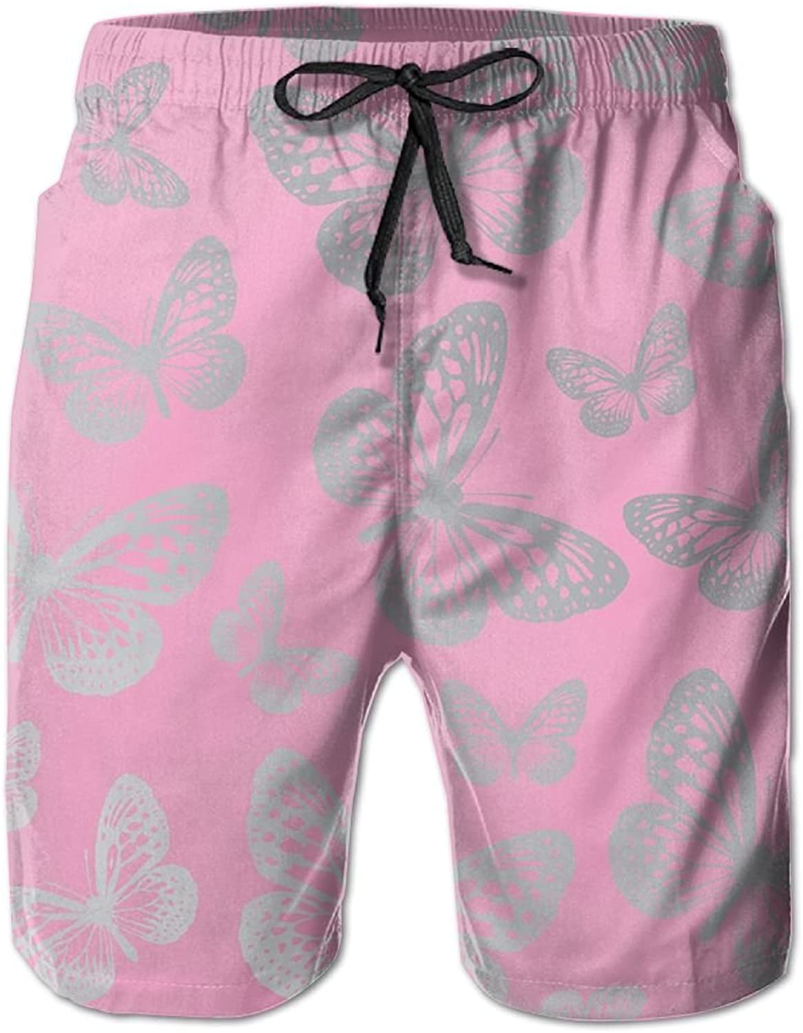 b473c5cc0e Tydo Tydo Tydo Quick Dry Beach Shorts Butterfly Pink Pattern Swim Trunks  Surf Board Pants With Pockets For Men b1378c