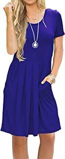 AUSELILY Women's Short Sleeve Pleated Loose Swing Casual Dress with Pockets Knee Length - - X-Small