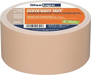 Shurtape PC 618 Performance Grade, Colored Cloth Duct Tape, 72mm x 55m, Beige, 1 Roll (207706)