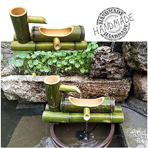 WishY Bambus Wasserbrunnen, Garten Brunnen Dekoration Skulptur Dekoration Statue,15.75in