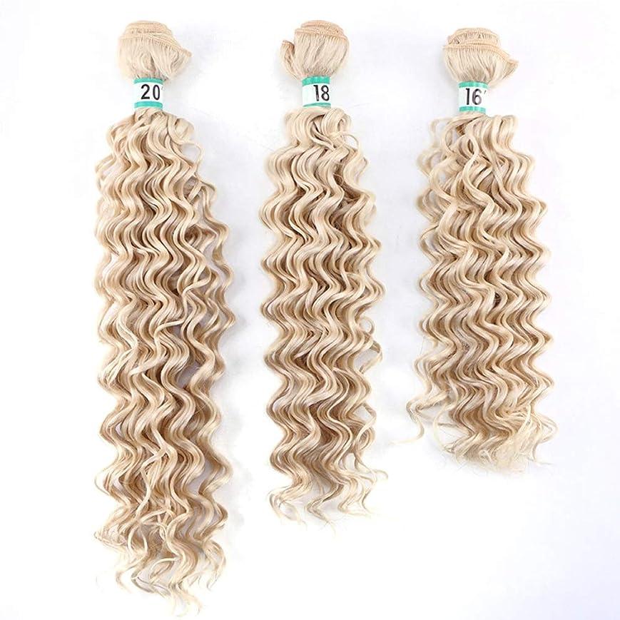 スペースみなさん旋律的Yrattary 深い巻き毛織り3バンドルヘアエクステンション - 613#ブロンド70 g/個複合ヘアレースかつらロールプレイングかつら長くて短い女性自然 (色 : Blonde, サイズ : 20
