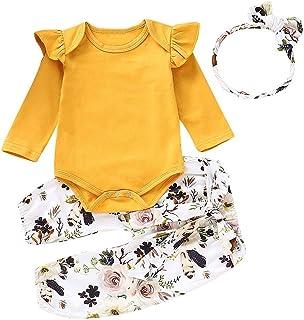 De feuilles Baby M/ädchen Bekleidungsset 3 St/ück Spitzen Blusen Denim Jacke Lang Hosen Gestickt Blumen Kleidung Set