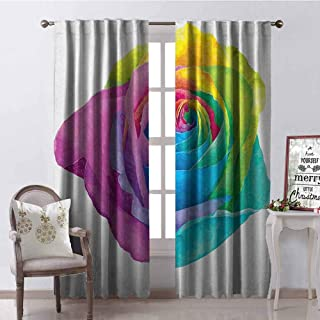 GloriaJohnson Vintage Rainbow Shading Insulated Curtain Romantic Blooming Rose with Colorful Petals Love Flower Valentines Day Soundproof Shade W42 x L90 Inch Multicolor