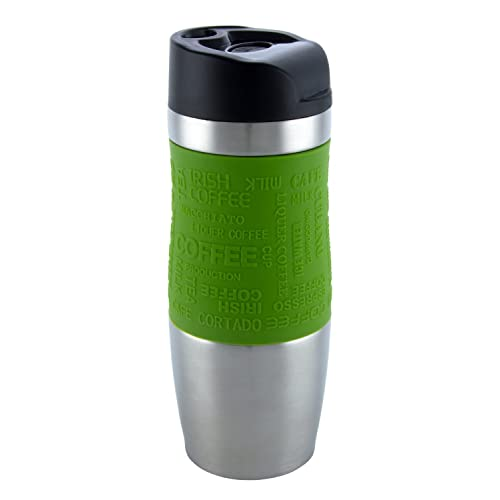 Vacuum Insulated High Quality Travel Mug, One-Handed Open and Drink, Double Walled and Leakproof for Any Hot and Cold Drink (400 ml, 13.5 oz) (Green)