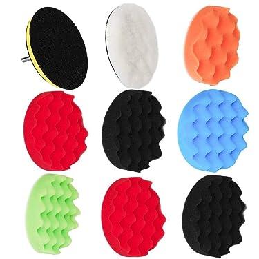 Eagles Buffing Pads Polishing Sponge Pads Kit 9pcs, and WoolenKits with Adhesive Backer pad (6inchs)