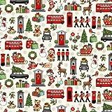 Makower MAK1427 Weihnachtsstoff, London-Weihnachtscreme,