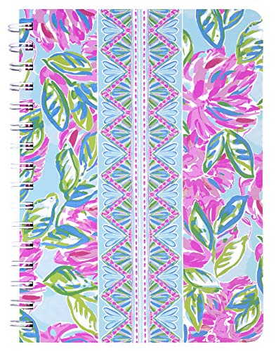 Lilly Pulitzer Women's Pink/Blue/Green Hardcover Mini Spiral Notebook, 8.25' x 6.5' with 160 College Ruled Pages, Totally Blossom