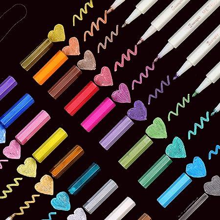 EKKONG Marqueur Métallique Pens, 20 Couleurs Métalliques Assorties Marqueurs Métallique Stylos pour DIY Carte, Album Photo, Scrapbooking, Artisanat