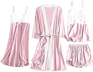 Moilant 4PC Women Sleepwear Satin Lace Camisole Bowknot Shorts Nightdress Robe Pajamas Lingerie