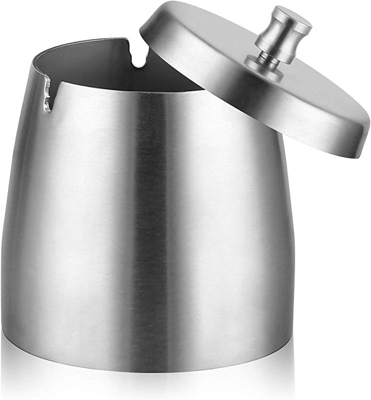 Cigar Ashtray Stainless Steel Car Ashtray With Lid For Indoor Outdoor Big Capacity Windproof Rainproof Thickened Ash Holder For Smokers Silver Large
