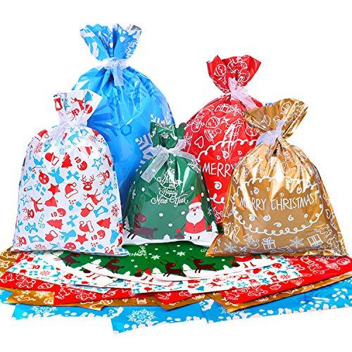 Tintec Bolsa de regalo de navidad, 40 Bolsas de envoltura de regalos de Navidad Gran variedad de estilos, bolsas de dulces navideños, para fiestas navideñas, regalos, decoraciones navideñas
