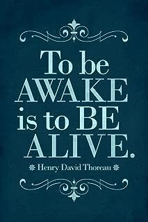 Henry David Thoreau to Be Awake is to Be Alive Blue Cubicle Locker Mini Art Poster 8x12