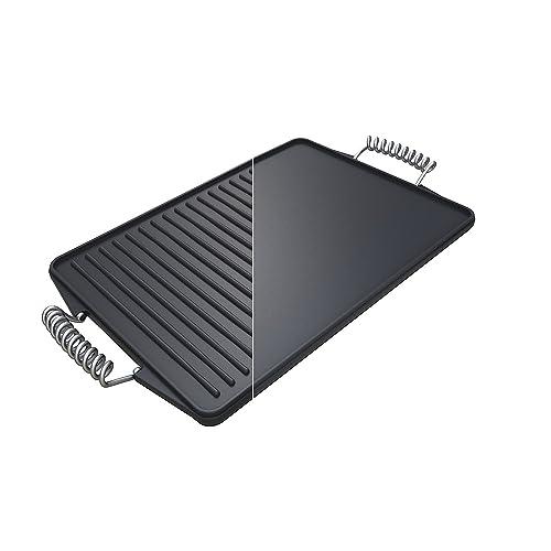 Campingaz 2000014577 Plancha premium de hierro fundido reversible, negro, 44 x 24 x 5 cm